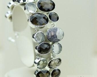 BERTRANDITE TIFFANY Stone Jasper Prasiolite Smokey Topaz 925 S0LID Sterling Silver Bracelet & FREE Worldwide Express Shipping B684