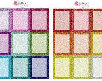 2 Sheet Set of Rainbow Glitter Full Box planner stickers for ECLP, HP, Kikki.K, Filofax