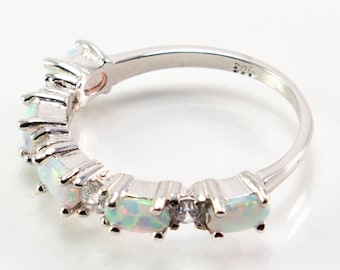 Pronged Oval-Shaped and CZ Lab Created Opal Ring