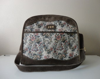 VINTAGE floral and suede TRAVEL luggage BAG - the french company
