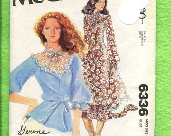 1970's McCalls 6336 Victorian Western Princess Seam Dress or Top with Chevron Yoke Size 12 UNCUT