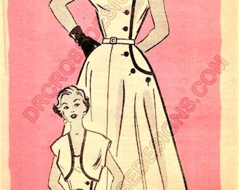 Anne Adams R4755 Misses' Vintage 1950s Mail Order Dress and Jacket Sewing Pattern