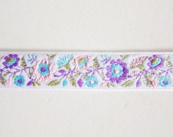 Lilac Floral Sewing Trim - Jacquard Ribbon - For Sewing / Embellishing / Packaging