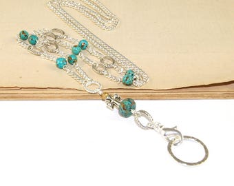 Christian Lanyard ID Holder, Turquoise & Silver with Cross
