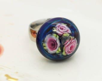 Roses Interchangeable Topper Focal Handmade Glass Art