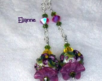 Cranberry and Green Earrings,Floral Earrings,Dangle Earrings,Beadwork Earrings,Beaded Earrings,Glass Earrings,Colorful - ELIANNE