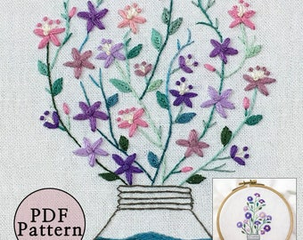 FlowersInTheEarlySummer__PDFfiles_+Reversed Pattern_instantdownload files_Hand Embroidery Pattern_Bonus*NEW*FreePattern