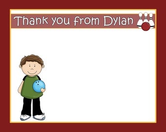 20 Bowling Birthday Party Thank You Cards    BOY