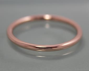Rose Gold Ring 14k  SOLID Stacking Band Full Round 1.6mm Smooth Shiny Finish Eco Friendly Recycled Gold