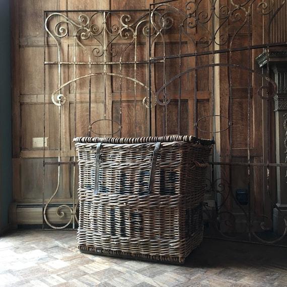 LARGE Antique Wicker Textile Mill Basket, Linen Shipping Basket, Large Wicker Hamper Basket, Blanket Basket, European Linen Basket
