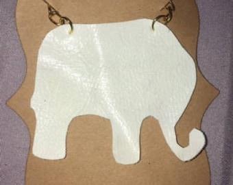 Handmade Elephant Recycled VEGAN Leather Necklace
