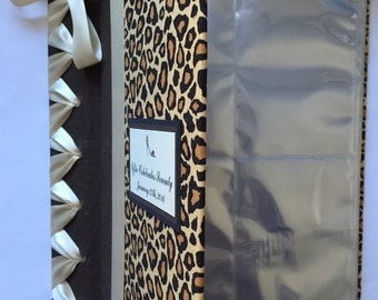 Cheetah Print Photo Album - Animal Print Photo Album - Bridal Shower Photo Album - Baby Shower Photo Album (Custom Colors Available)