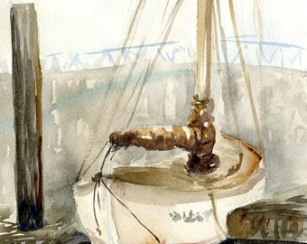 Docked Sailboat Watercolor Painting Art Print