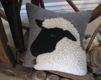 Woolly Sheep Pillow Primitive Folk Art Handmade Applique