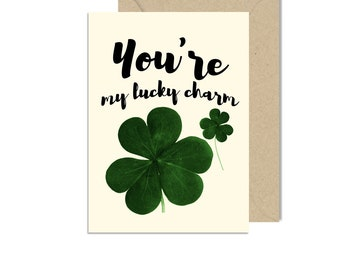 You're My Lucky Charm Blank Greeting Card, St. Patty's, Wedding, Couple, Love, St. Patrick's, Irish, Clover, Thank You, Friends, Chrizels