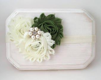 Sage Green and Ivory Fall Headband, Ivory Bridal Headband, Flower Girl Headband, Green Headband, Baptism Headband, Girl's Headband