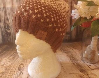 2 tone alpaca beanie, adult, eco friendly yarn, hand spun, hand knit, local alpaca