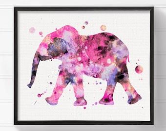 Elephant Art, Watercolor Elephant, Elephant Painting, Elephant Print, Baby Girl Nursery, Girls Room Decor, Nursery Wall Art, Elephant Poster