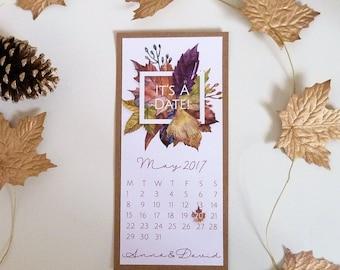 x 10 Autumn Leaves Save The Date Calendar Card