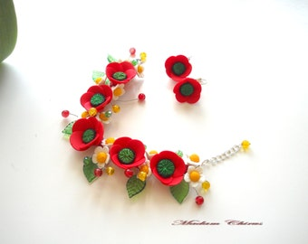 Bracelet with poppies, poppies earrings, jewelery with poppies, poppies handmade bracelet made of polymer clay.
