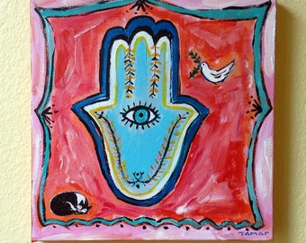 Jewish Gifts, Shalom Art,  Hamsa Hand, Peace Dove, Tuxedo Cat, Original Painting on Canvas, Jewish Art, Chamsa Eye, Judaica Artwork, Amulet