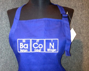 "BaCoN APRON Embroidered with Periodic Table Letters on BBQ Barbecue Apron 30"" or 34"" Made To Order"