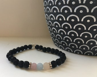 Morganite Accented Black Lava Stone Aromatherapy Bracelet