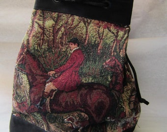 Tapestry Fabric HORSE Equestrian FOXHUNT Cinch Closure Purse Shoulder Bag made in USA....choose color
