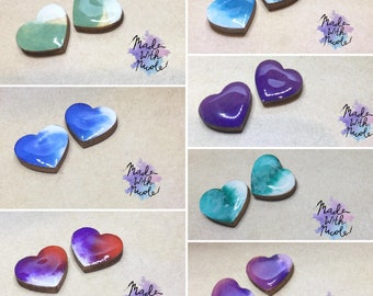 Watercolour Heart Ear Art Studs - Individually Hand Painted