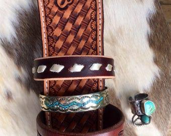 Platinum buckstitch stacker bracelet