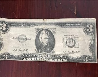 Rare Vintage Novelty 3 Twe Dollar Bill Untied States of Anemia 1970