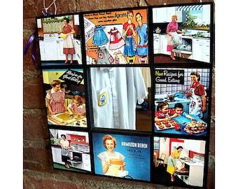 Fifties housewife wall mirror retro rockabilly vintage mid century kitchen cookbook  kitsch