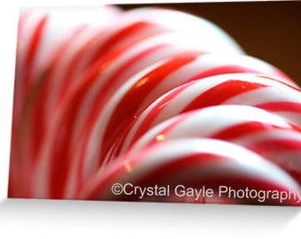 "Holiday Greeting Cards ~ Candy Cane ~ Red, White, Striped, Folded, 4.25""x5.5"" or 5""x7"", Festive, Christmas Party Invitations, For the Friend"