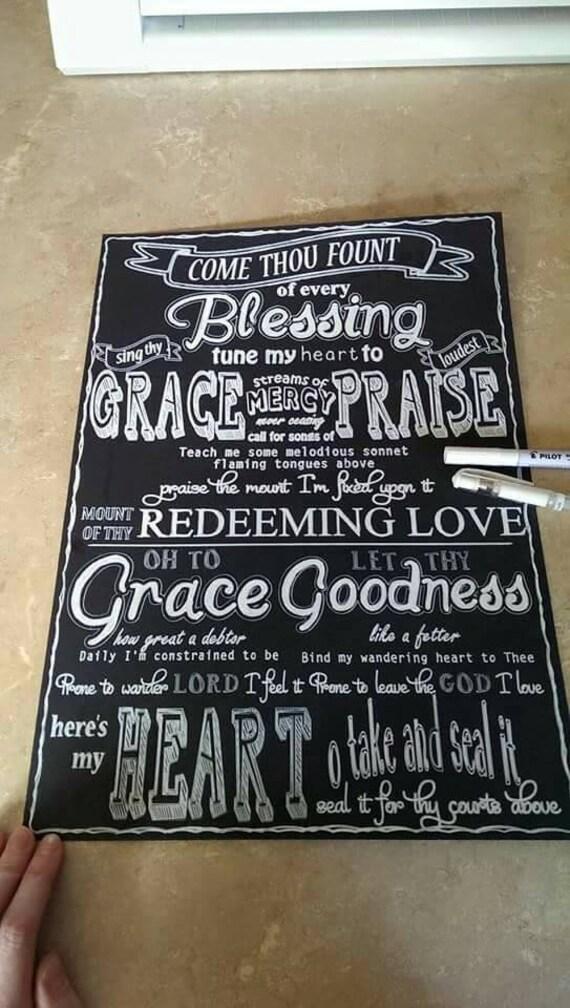 Come Thou Font Chalkboard Song Lyrics Hand Drawn A3