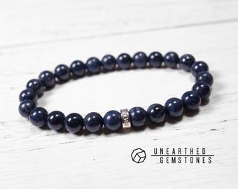 Genuine Sapphire Bracelet - Sterling Silver Mens Bracelet, Natural Sapphire Jewelry, September Birthstone Bracelet