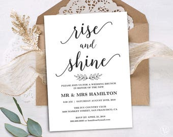 Wedding Brunch Invitation, Printable Wedding Brunch Card, Simple and Modern, INSTANT DOWNLOAD, Editable Text, Modern Calligraphy, VW10