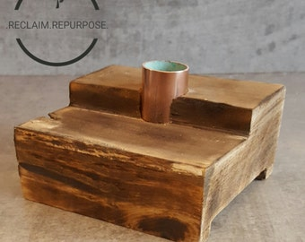 Reclaimed Wood Candle holder / charred / charring / copper pipe / decor / gift / home / house warming / anniversary