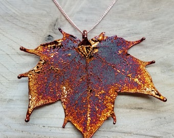 Iridescent Copper Dipped Real Maple Leaf Necklace Pendant Outdoor Rustic Nature Earth Jewelry Tree Plant (N222)
