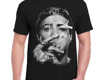 Sylvester Stallone Men Tee Shirt T-Shirts Black / Dark Gray