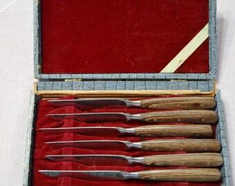 Vintage Steak Knife Set of 6 Stainless Steel Wooden Handle Cutlery Mid Century Original Box Japan PanchosPorch