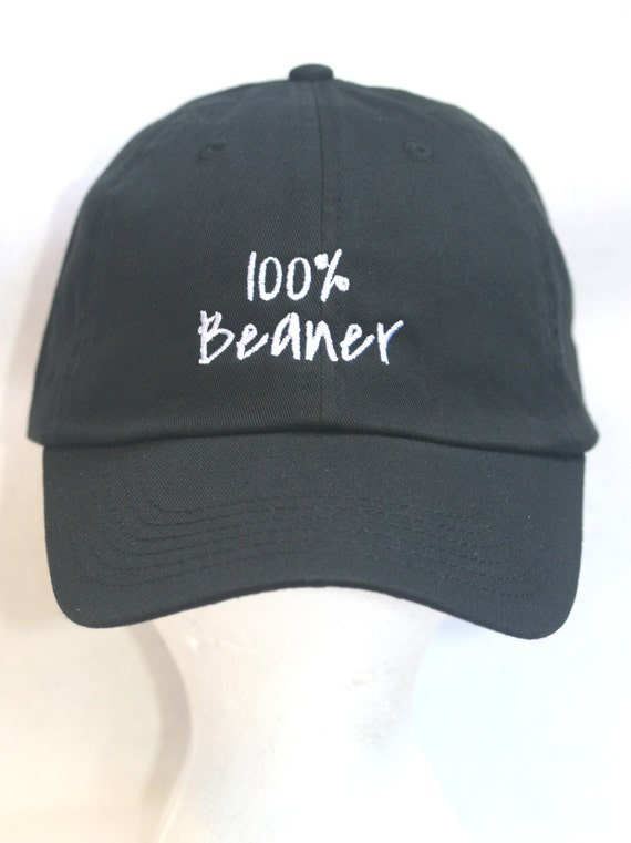 100% Beaner - Polo Style Ball Cap (Black with White Stitching)