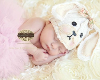 SALE - Newborn Bunny Hat, Easter Bunny, Upcycled Bunny Hat, Rabbit Hat, Natural, Off-white, Ivory, Upcycled, Vintage, Newborn Photo Prop,RTS