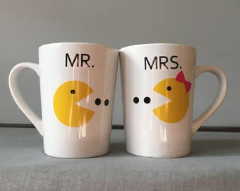 Mr. and Mrs. Pac Man couples coffee mugs.