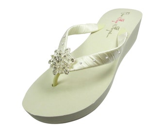 Swarovski Accent Wedding flip flops with Vintage Flower Rhinestone for Bride, Bridesmaids, Bridal Party. Selection of Sizes, heel, color