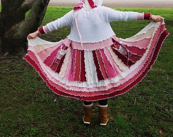 Katwise Inspired Pink and White Fairycoat • Handmade One of a Kind Sweater Elf Coat