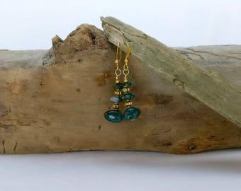 Gorgeous green moss agate and emerald dangle earrings