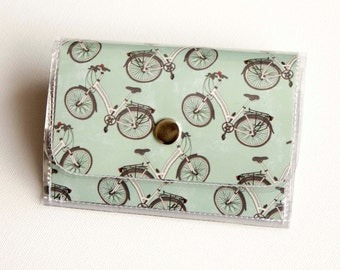 Handmade Vinyl Accordion Wallet - Cycle / small wallet, cyclist, bicycle, snap, cute, card case, vinyl wallet, women's wallet, men, green