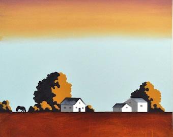 Original Painting  - 24 x 24 Inches - Barn Farm Painting - Red Dirt Farm