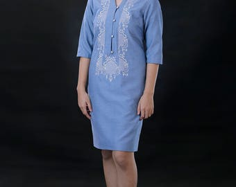 Modern FILIPINIANA Dress Linen BARONG TAGALOG Philippine National Costume - Light Blue
