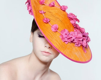 """18"""" sinamay saucer with silk dupion flower spray perfect for weddings/ the Melbourne Cup."""